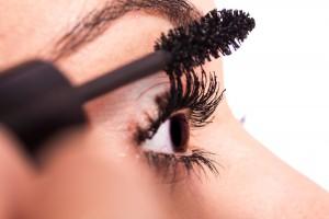 Closeup of mascara application