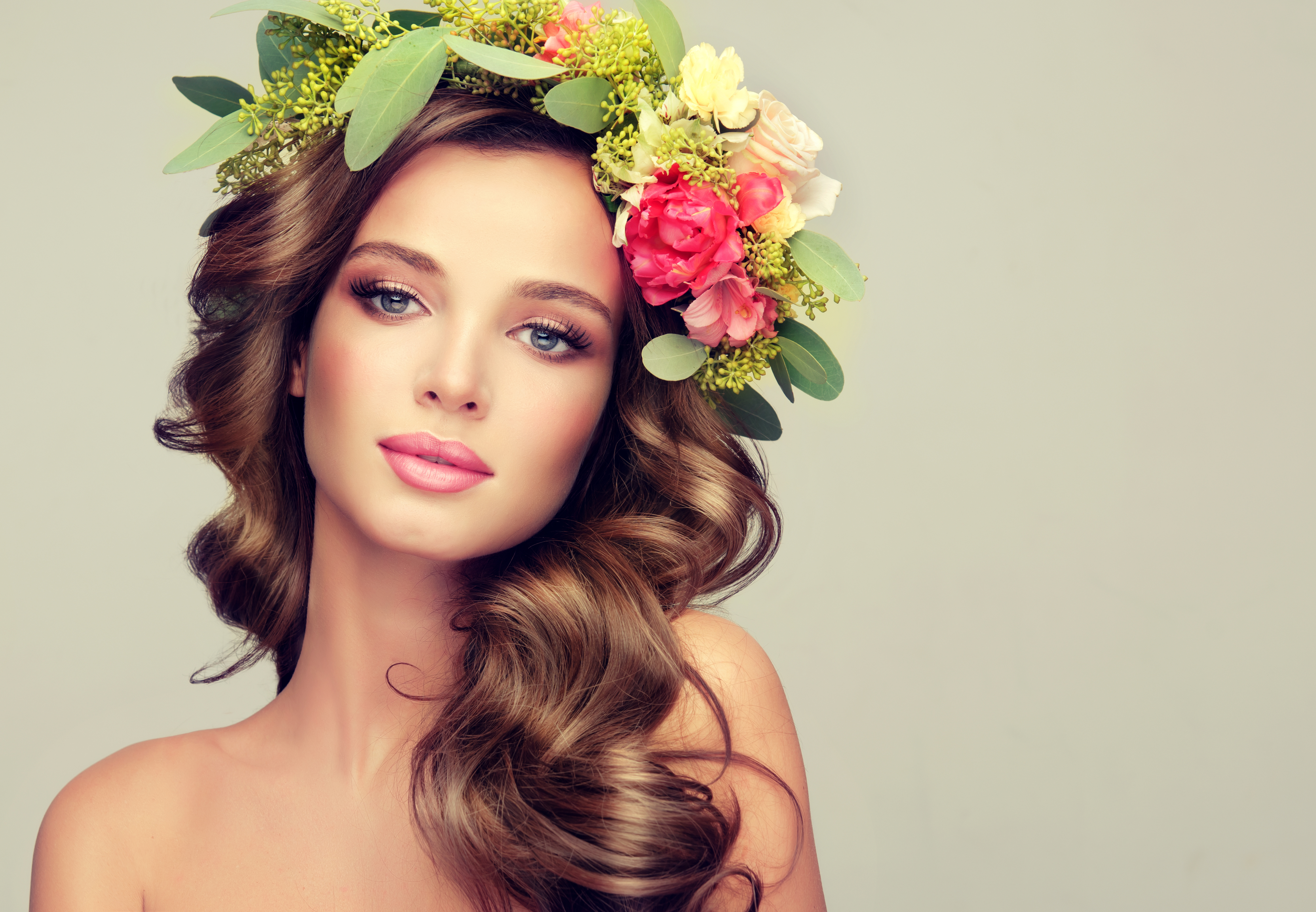 Beautiful Woman Model Brunette With Long Curly Hair Floral