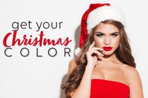 festively dressed woman in santa hat