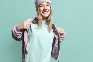 Female model wearing beanie