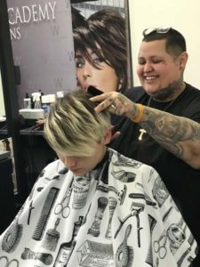 student barbering